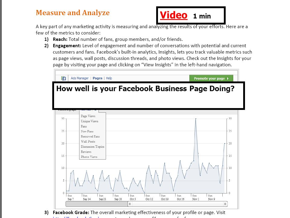 video VideoVideo 1 min How well is your Facebook Business Page Doing