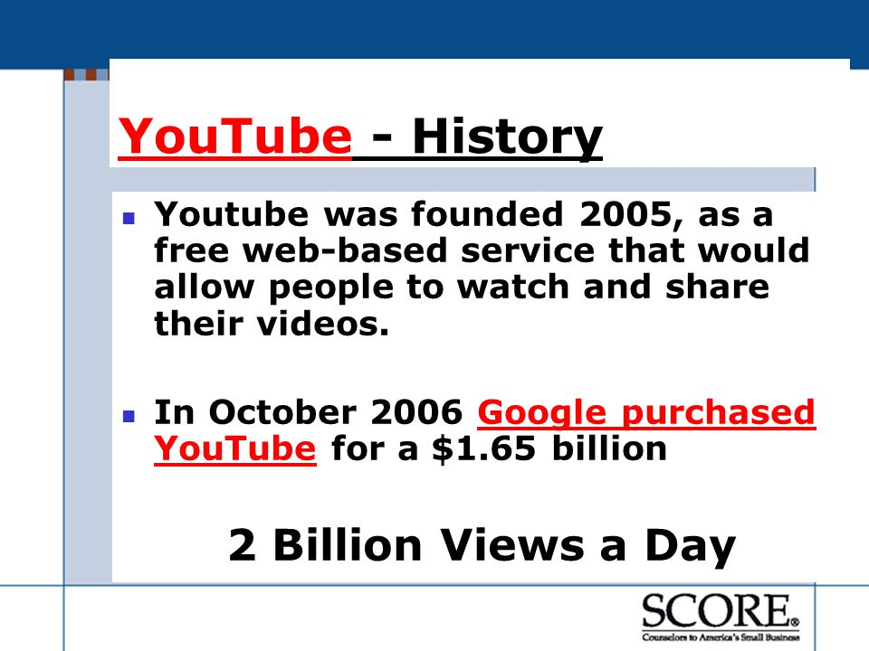 YouTubeYouTube - History Youtube was founded 2005, as a free web-based service that would allow people to watch and share their videos.