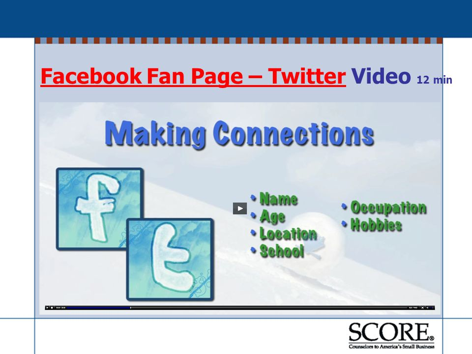 Facebook Fan Page – TwitterFacebook Fan Page – Twitter Video 12 min