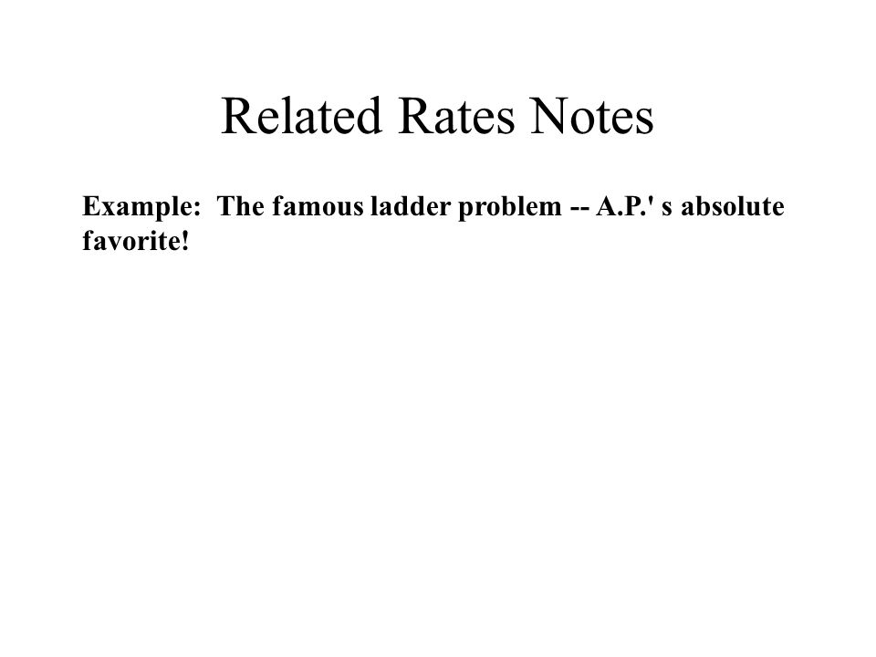 Related Rates Notes Example: The famous ladder problem -- A.P. s absolute favorite!