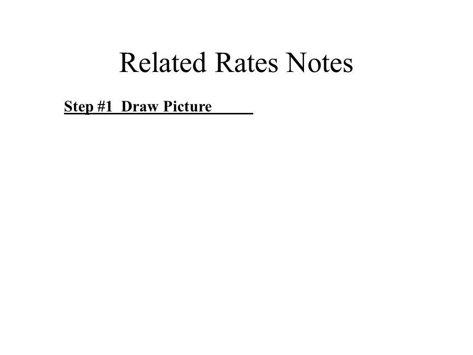 Related Rates Notes Step #1 Draw Picture