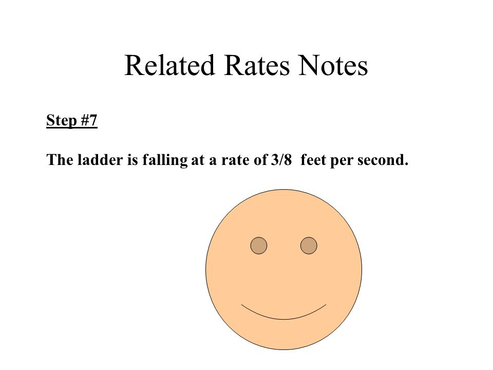 Related Rates Notes Step #7 The ladder is falling at a rate of 3/8 feet per second.