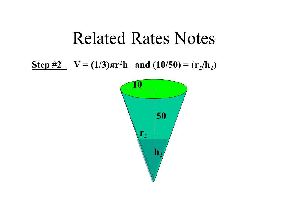 Related Rates Notes Step #2 V = (1/3)πr 2 h and (10/50) = (r 2 /h 2 ) 10 50 h2h2 r2r2