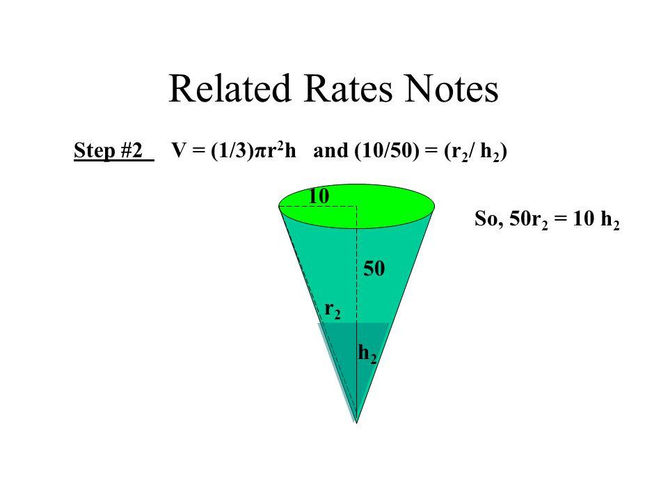 Related Rates Notes Step #2 V = (1/3)πr 2 h and (10/50) = (r 2 / h 2 ) 10 50 h2h2 r2r2 So, 50r 2 = 10 h 2