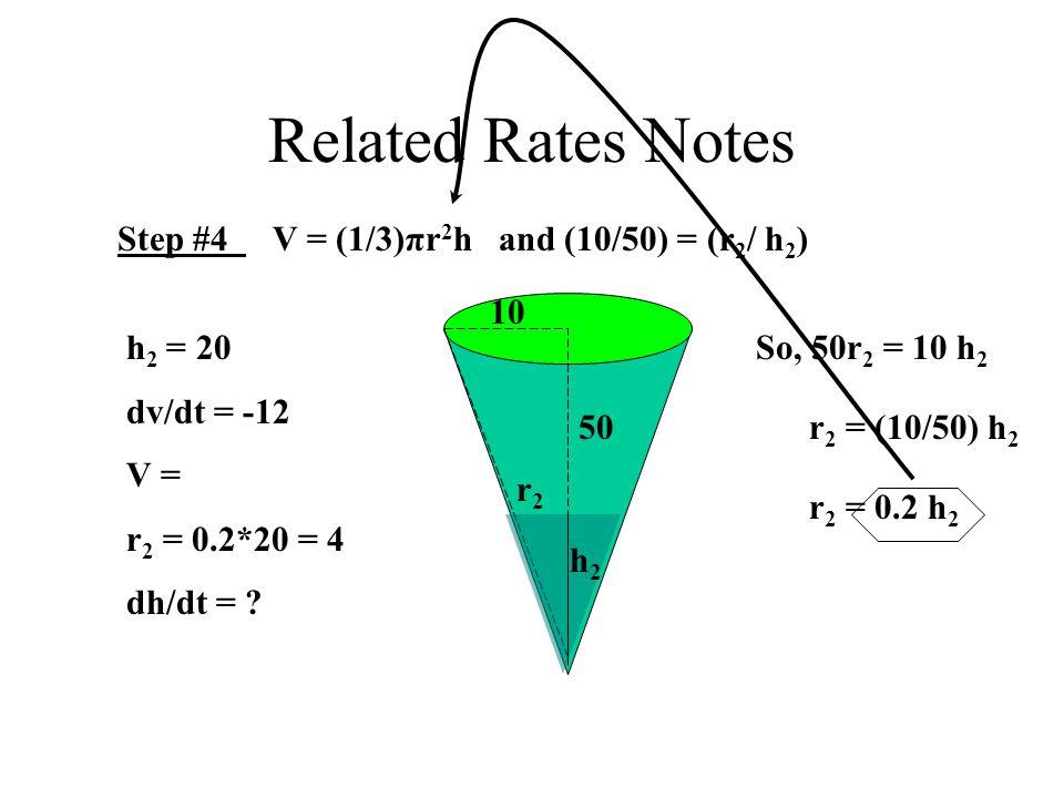 Related Rates Notes Step #4 V = (1/3)πr 2 h and (10/50) = (r 2 / h 2 ) 10 50 h2h2 r2r2 So, 50r 2 = 10 h 2 r 2 = (10/50) h 2 r 2 = 0.2 h 2 h 2 = 20 dv/dt = -12 V = r 2 = 0.2*20 = 4 dh/dt =