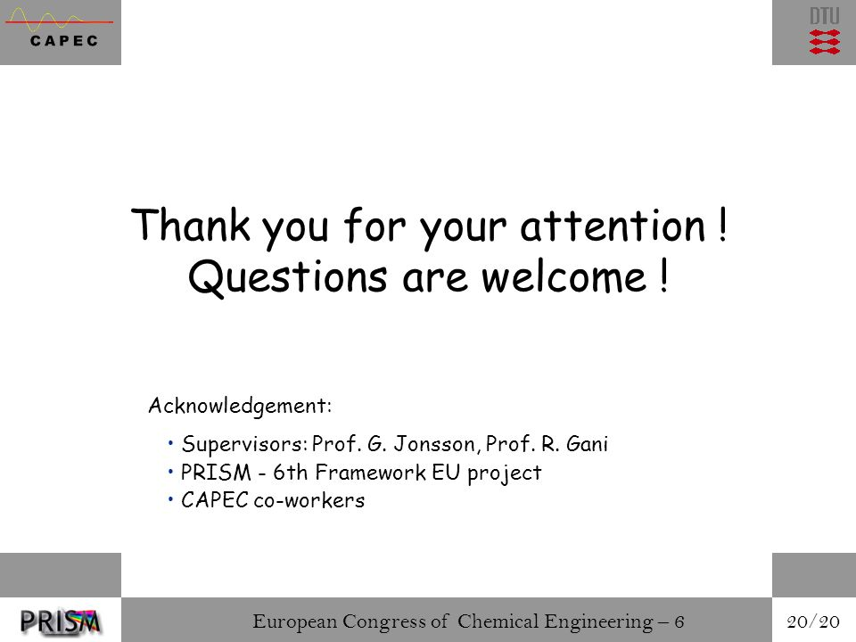 European Congress of Chemical Engineering – 6 20/20 Thank you for your attention .