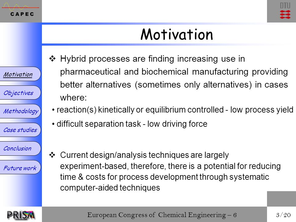 European Congress of Chemical Engineering – 6 3/20 Motivation Objectives Methodology Case studies Conclusion Future work  Hybrid processes are finding increasing use in pharmaceutical and biochemical manufacturing providing better alternatives (sometimes only alternatives) in cases where: reaction(s) kinetically or equilibrium controlled - low process yield difficult separation task - low driving force  Current design/analysis techniques are largely experiment-based, therefore, there is a potential for reducing time & costs for process development through systematic computer-aided techniques
