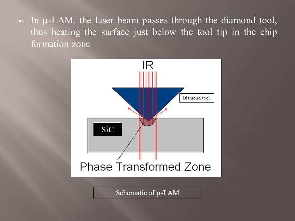  The ductile material removal can be attributed to a High Pressure Phase Transformation (HPPT) at the tool-chip interface and the resultant phase is metallic or amorphous  The HPPT occurs due to contact between the sharp tool and workpiece at or below critical depth of cut, i.e., below the ductile to brittle transition