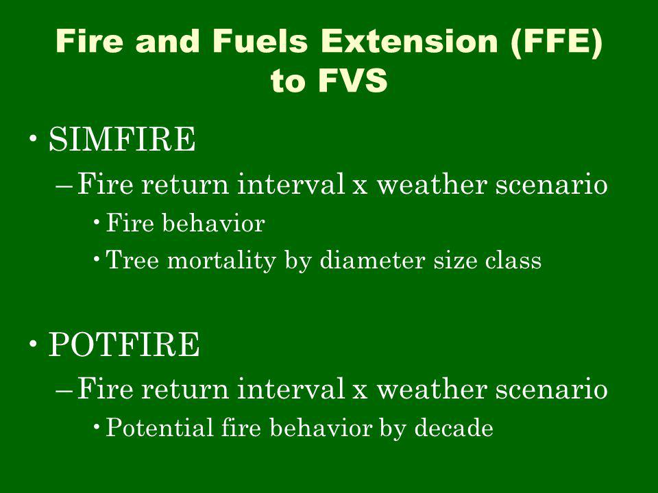 Fire and Fuels Extension (FFE) to FVS SIMFIRE –Fire return interval x weather scenario Fire behavior Tree mortality by diameter size class POTFIRE –Fire return interval x weather scenario Potential fire behavior by decade