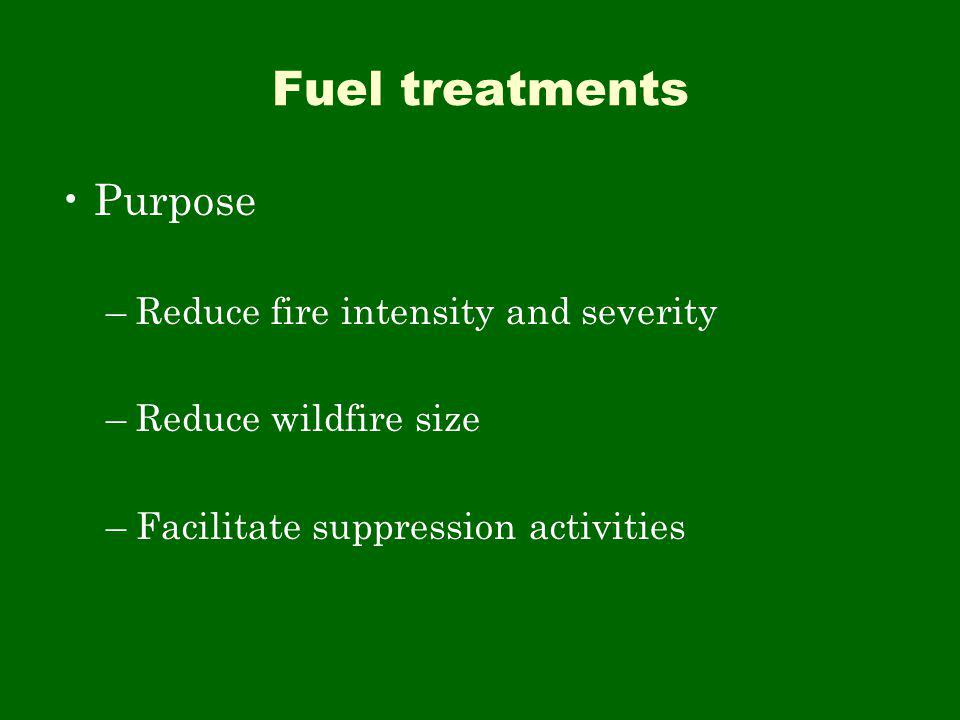 Fuel treatments Purpose –Reduce fire intensity and severity –Reduce wildfire size –Facilitate suppression activities