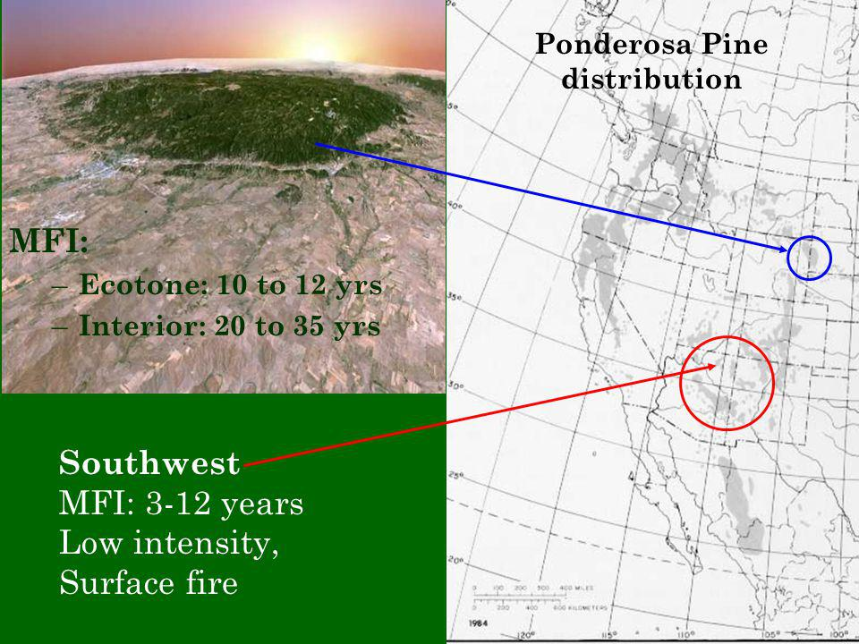 Southwest MFI: 3-12 years Low intensity, Surface fire Ponderosa Pine distribution MFI: – Ecotone: 10 to 12 yrs – Interior: 20 to 35 yrs