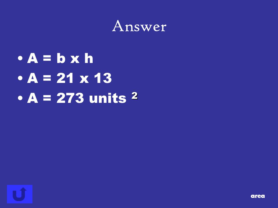 Answer area 13 21 7 Find the area of the parallelogram.