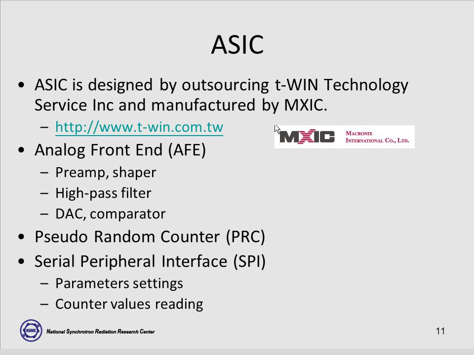 11 ASIC ASIC is designed by outsourcing t-WIN Technology Service Inc and manufactured by MXIC.