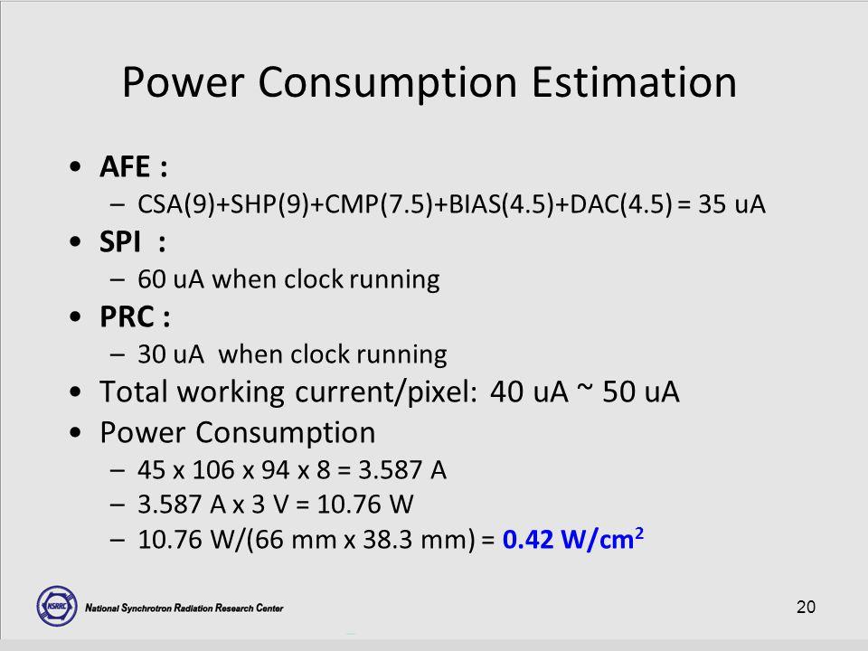 20 Power Consumption Estimation AFE : –CSA(9)+SHP(9)+CMP(7.5)+BIAS(4.5)+DAC(4.5) = 35 uA SPI : –60 uA when clock running PRC : –30 uA when clock running Total working current/pixel: 40 uA ~ 50 uA Power Consumption –45 x 106 x 94 x 8 = 3.587 A –3.587 A x 3 V = 10.76 W –10.76 W/(66 mm x 38.3 mm) = 0.42 W/cm 2