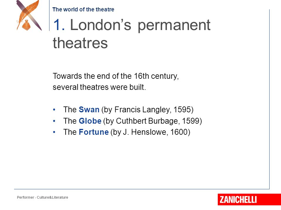 The world of the theatre Towards the end of the 16th century, several theatres were built.