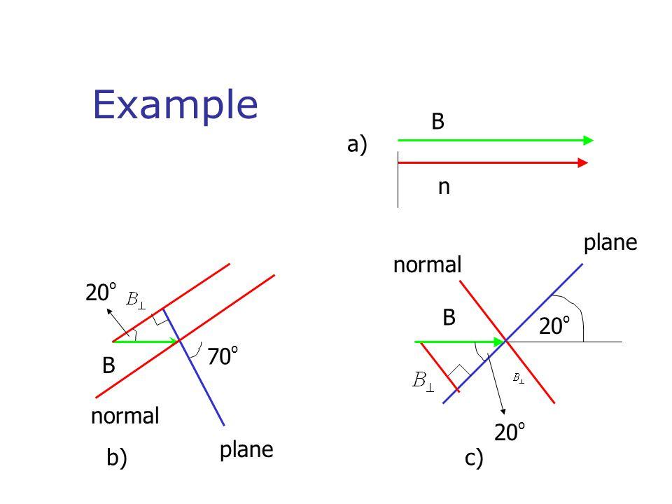 Example 70 º 20 º b)c) B B B n normal plane normal a)