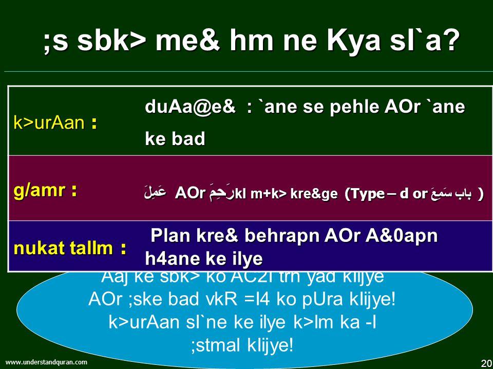 20 www.understandquran.com ;s sbk> me& hm ne Kya sI`a.