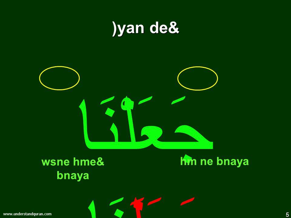 5 www.understandquran.com )yan de& جَعَلْنَا جَعَلَنَا hm ne bnaya wsne hme& bnaya