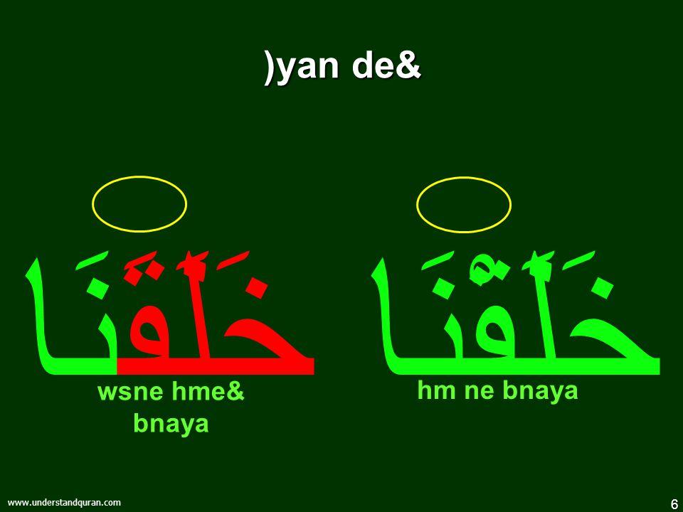 6 www.understandquran.com )yan de& خَلَقْنَا خَلَقَنَا wsne hme& bnaya hm ne bnaya