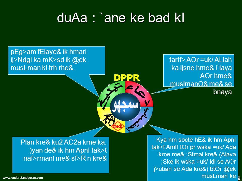 9 www.understandquran.com duAa : `ane ke bad kI Kya hm socte hE& ik hm ApnI tak>t AmlI tOr pr wska =uk/ Ada krne me& ;Stmal kre& (Alava ;Ske ik wska =uk/ idl se AOr j>uban se Ada kre&) btOr @ek musLman ke Plan kre& ku2 AC2a krne ka.