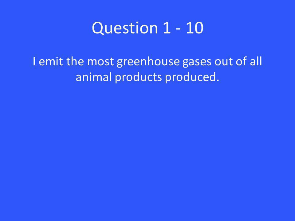 Question 1 - 10 I emit the most greenhouse gases out of all animal products produced.