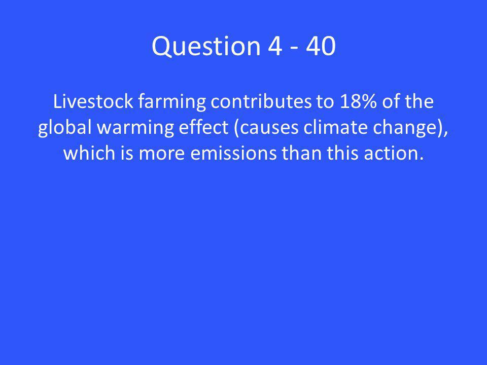 Question 4 - 40 Livestock farming contributes to 18% of the global warming effect (causes climate change), which is more emissions than this action.
