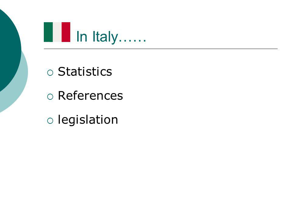 In Italy……  Statistics  References  legislation