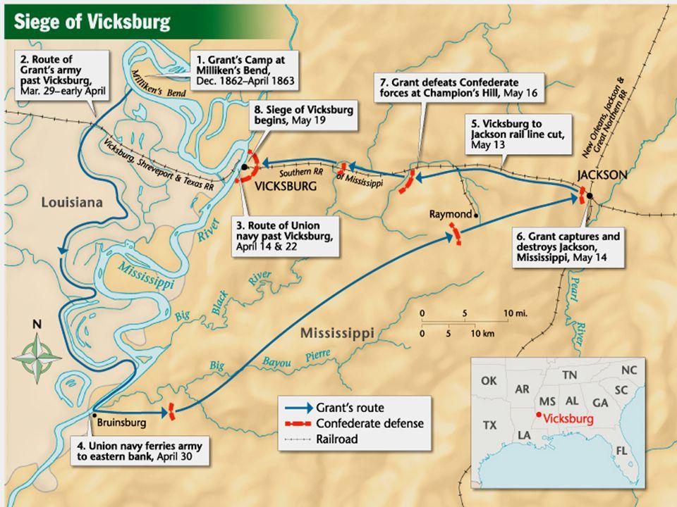 Vicksburg/Gettysburg Grant captures Vicksburg, splits the CSA in half. USA controls the Mississippi River. Grant captures Vicksburg, splits the CSA in