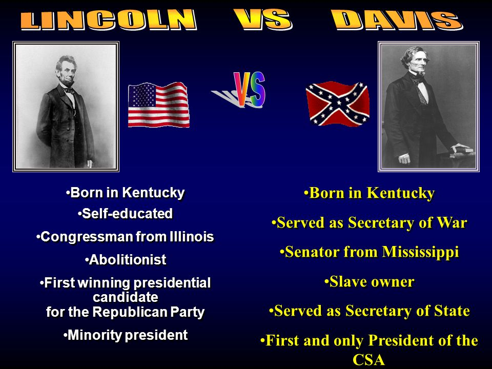 Lincoln/Davis Born in Kentucky Self-educated Congressman from Illinois Abolitionist First winning presidential candidate for the Republican Party Mino