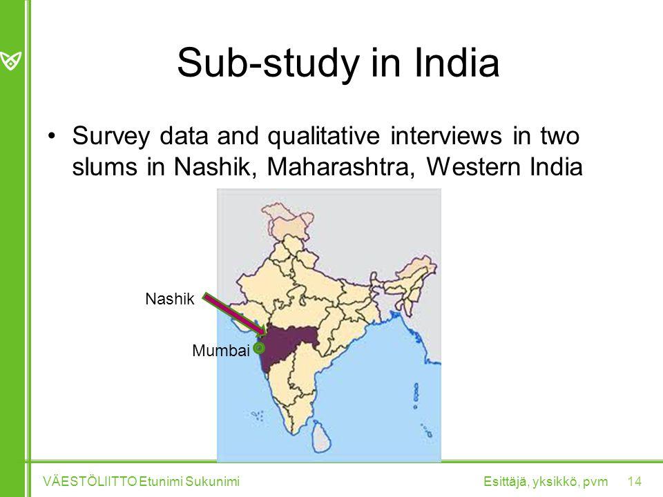 Sub-study in India Survey data and qualitative interviews in two slums in Nashik, Maharashtra, Western India Esittäjä, yksikkö, pvmVÄESTÖLIITTO Etunimi Sukunimi 14 Mumbai Nashik