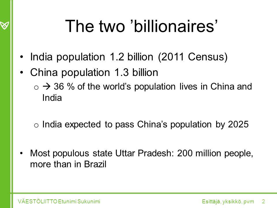 The two 'billionaires' India population 1.2 billion (2011 Census) China population 1.3 billion o  36 % of the world's population lives in China and India o India expected to pass China's population by 2025 Most populous state Uttar Pradesh: 200 million people, more than in Brazil Esittäjä, yksikkö, pvmVÄESTÖLIITTO Etunimi Sukunimi 2