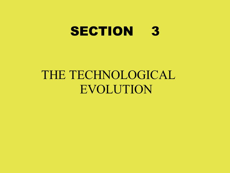 SECTION 3 THE TECHNOLOGICAL EVOLUTION