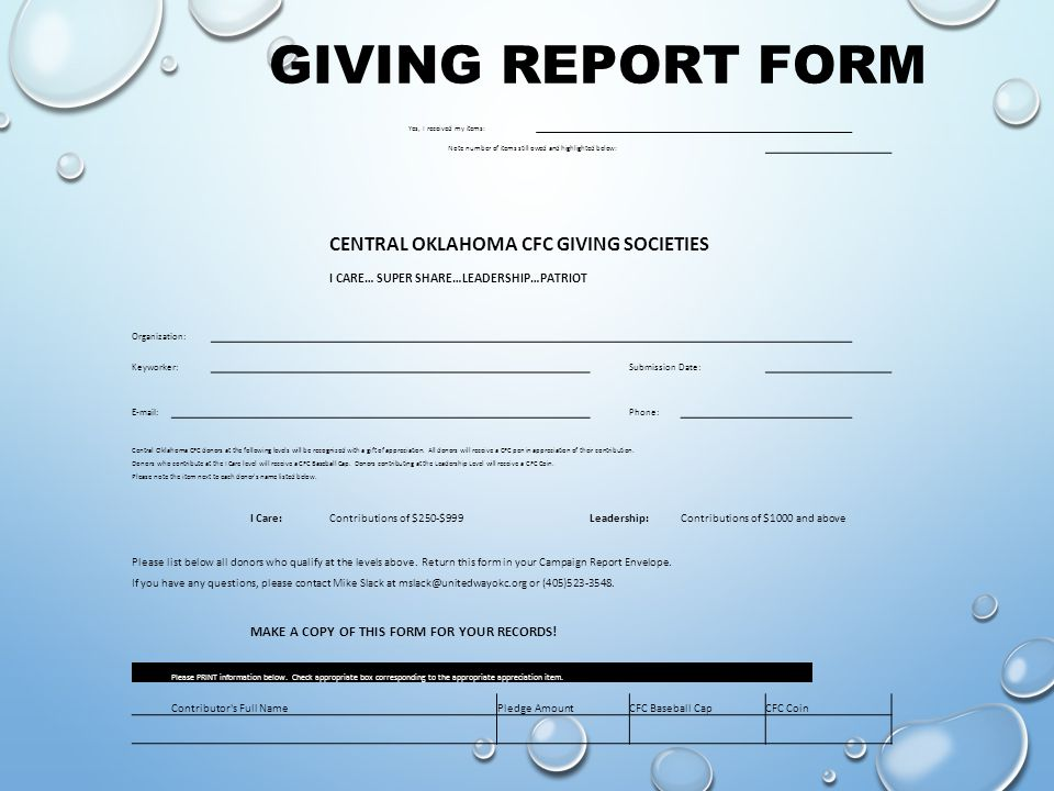 GIVING REPORT FORM Yes, I received my items: Note number of items still owed and highlighted below: CENTRAL OKLAHOMA CFC GIVING SOCIETIES I CARE… SUPER SHARE…LEADERSHIP…PATRIOT Organization: Keyworker: Submission Date:   Phone: Central Oklahoma CFC donors at the following levels will be recognized with a gift of appreciation.