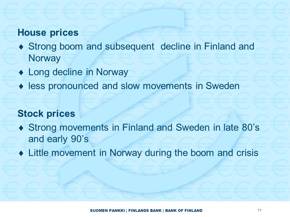 SUOMEN PANKKI | FINLANDS BANK | BANK OF FINLAND House prices  Strong boom and subsequent decline in Finland and Norway  Long decline in Norway  les