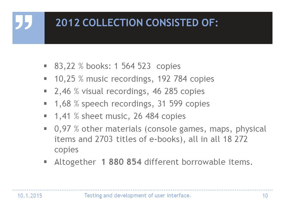 2012 COLLECTION CONSISTED OF:  83,22 % books: 1 564 523 copies  10,25 % music recordings, 192 784 copies  2,46 % visual recordings, 46 285 copies 