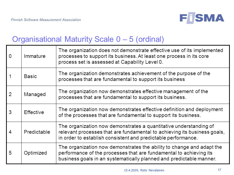 15.4.2009, Risto Nevalainen 17 Organisational Maturity Scale 0 – 5 (ordinal) 0Immature The organization does not demonstrate effective use of its implemented processes to support its business.