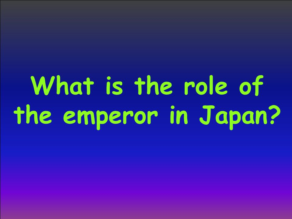 What is the role of the emperor in Japan?
