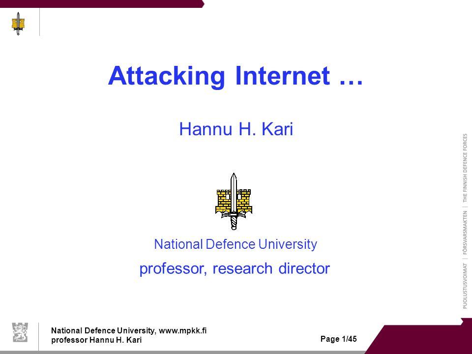 National Defence University, www.mpkk.fi professor Hannu H.