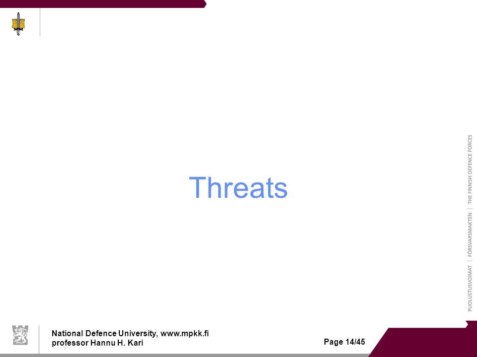National Defence University, www.mpkk.fi professor Hannu H. Kari Page 14/45 Threats
