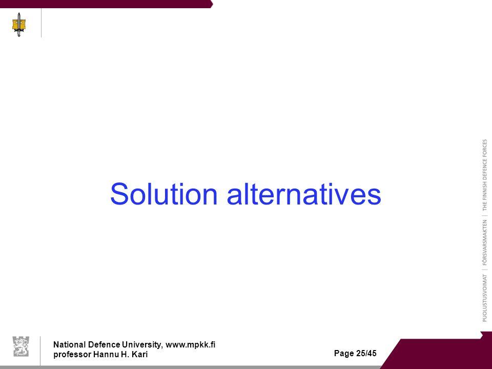 National Defence University, www.mpkk.fi professor Hannu H. Kari Page 25/45 Solution alternatives