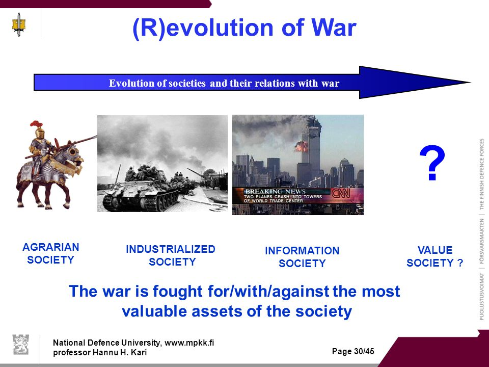 National Defence University, www.mpkk.fi professor Hannu H. Kari Page 30/45 (R)evolution of War Evolution of societies and their relations with war ?