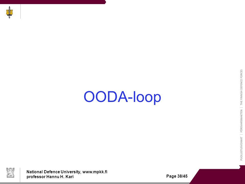 National Defence University, www.mpkk.fi professor Hannu H. Kari Page 38/45 OODA-loop