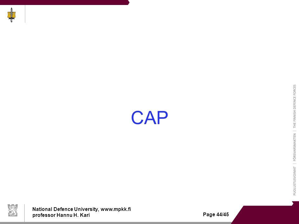 National Defence University, www.mpkk.fi professor Hannu H. Kari Page 44/45 CAP
