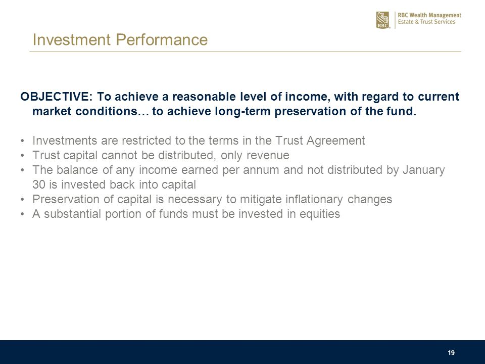 19 Investment Performance OBJECTIVE: To achieve a reasonable level of income, with regard to current market conditions… to achieve long-term preservation of the fund.