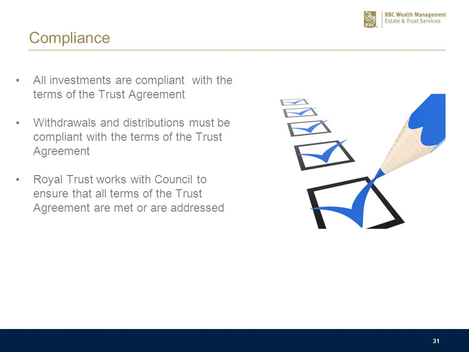 31 Compliance All investments are compliant with the terms of the Trust Agreement Withdrawals and distributions must be compliant with the terms of th