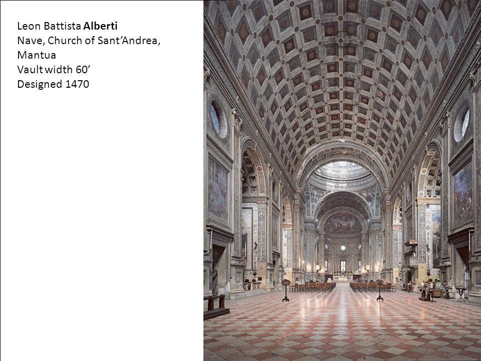 Leon Battista Alberti Nave, Church of Sant'Andrea, Mantua Vault width 60' Designed 1470