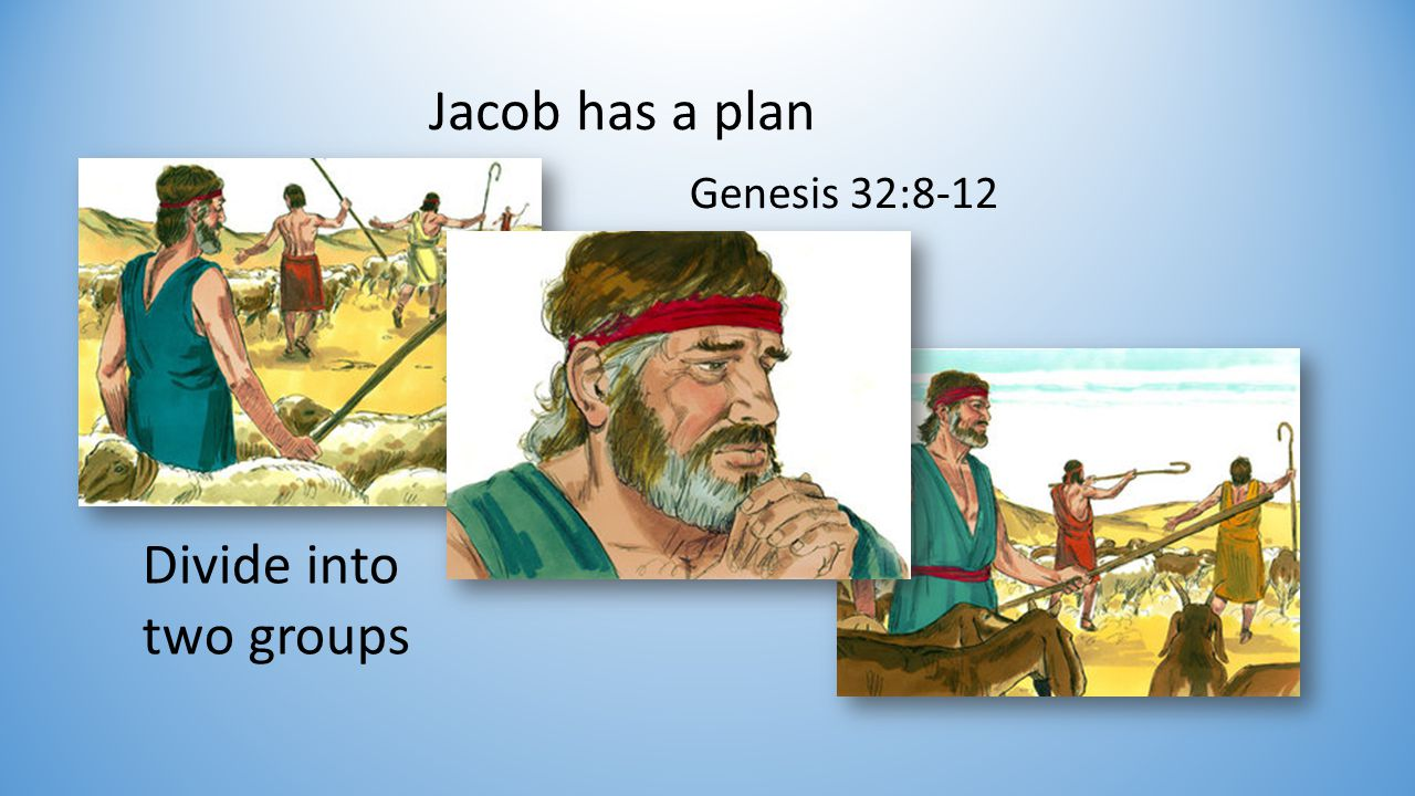 Jacob has a plan Divide into two groups Genesis 32:8-12