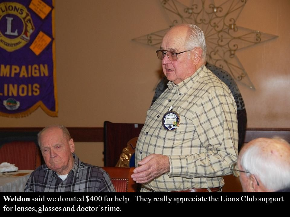 Marvin Paulsen and Weldon Garrelts reported for the Low Vision Screening, which was attended by several of our members.