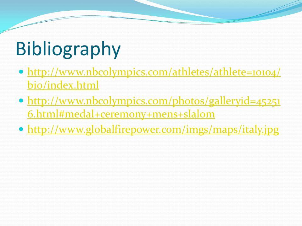 Bibliography http://www.nbcolympics.com/athletes/athlete=10104/ bio/index.html http://www.nbcolympics.com/athletes/athlete=10104/ bio/index.html http://www.nbcolympics.com/photos/galleryid=45251 6.html#medal+ceremony+mens+slalom http://www.nbcolympics.com/photos/galleryid=45251 6.html#medal+ceremony+mens+slalom http://www.globalfirepower.com/imgs/maps/italy.jpg
