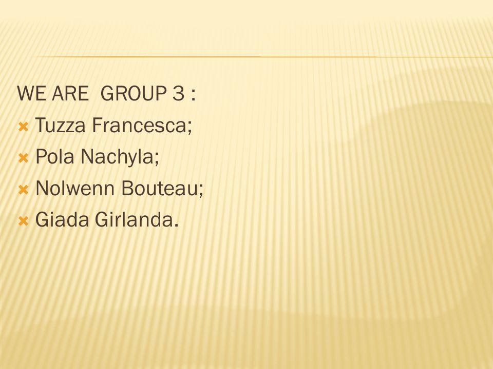 WE ARE GROUP 3 :  Tuzza Francesca;  Pola Nachyla;  Nolwenn Bouteau;  Giada Girlanda.